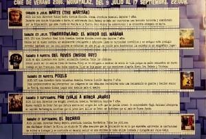 Programa del Cine de Verano 2016 de Moratalaz